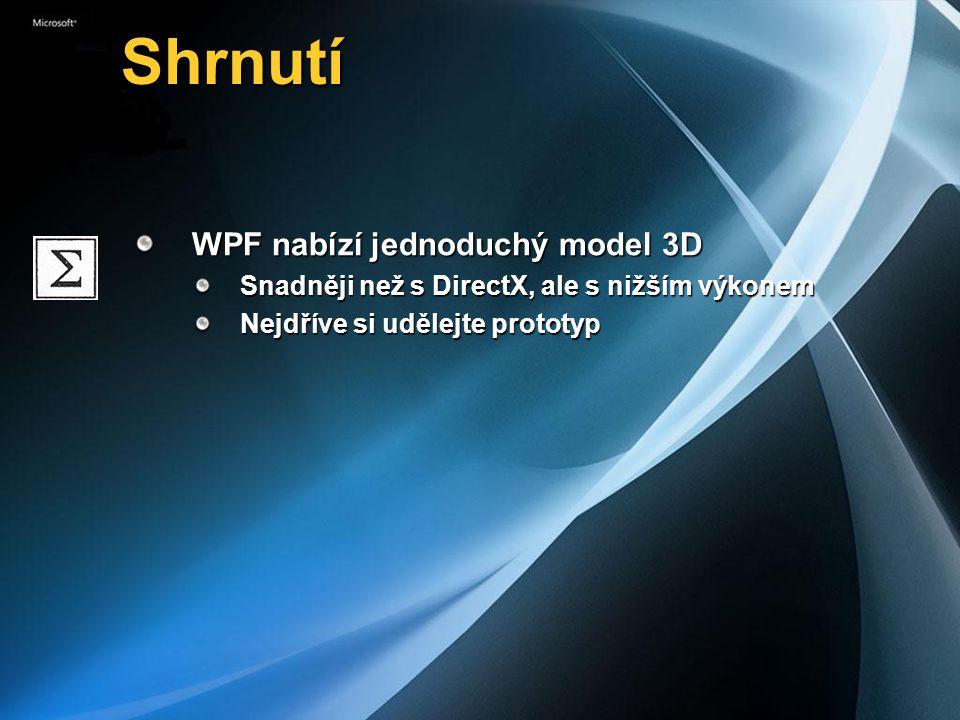 Shrnutí Shrnutí WPF nabízí jednoduchý model 3D Snadněji než s DirectX, ale s nižším výkonem Nejdříve si udělejte prototyp