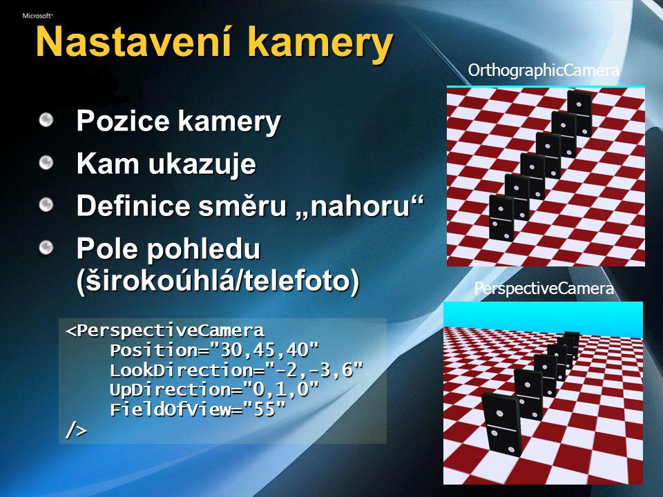"""Nastavení kamery PerspectiveCamera OrthographicCamera Pozice kamery Kam ukazuje Definice směru """"nahoru Pole pohledu (širokoúhlá/telefoto) <PerspectiveCamera Position= 30,45,40 Position= 30,45,40 LookDirection= -2,-3,6 LookDirection= -2,-3,6 UpDirection= 0,1,0 UpDirection= 0,1,0 FieldOfView= 55 FieldOfView= 55 />"""