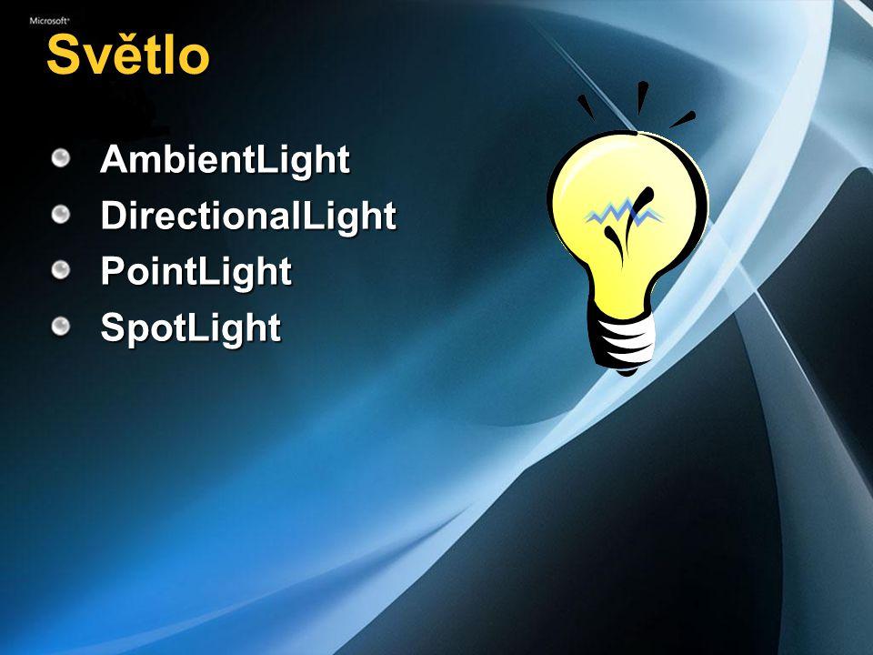 Světlo AmbientLightDirectionalLightPointLightSpotLight