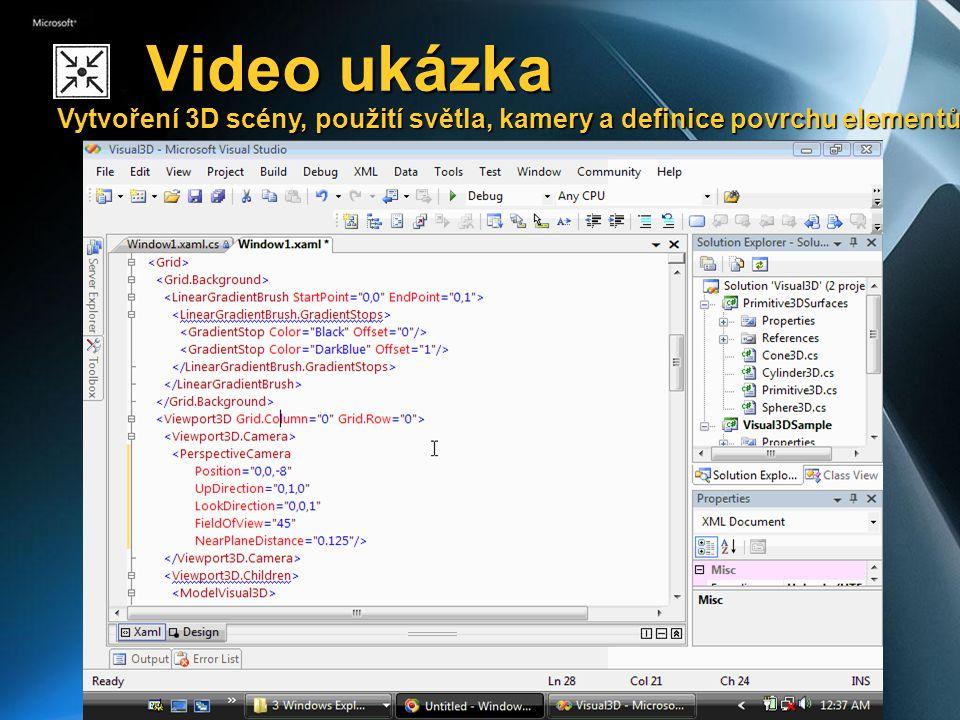 Video ukázka Vytvoření 3D scény, použití světla, kamery a definice povrchu elementů Video ukázka Vytvoření 3D scény, použití světla, kamery a definice povrchu elementů