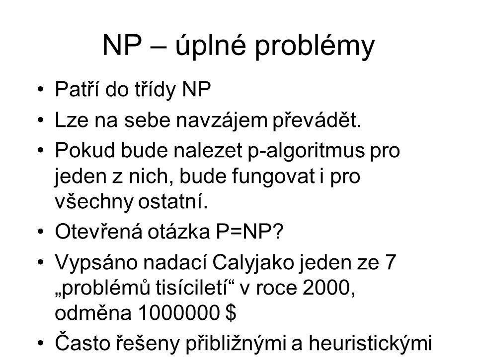 NP – úplné problémy Patří do třídy NP Lze na sebe navzájem převádět. Pokud bude nalezet p-algoritmus pro jeden z nich, bude fungovat i pro všechny ost