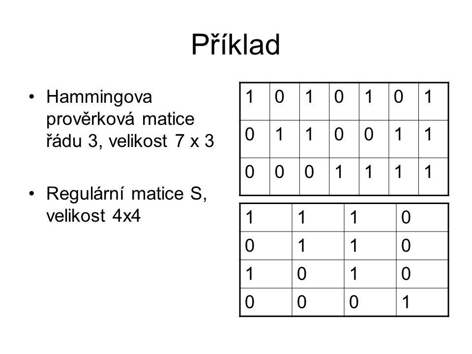 Příklad Hammingova prověrková matice řádu 3, velikost 7 x 3 Regulární matice S, velikost 4x4 1010101 0110011 0001111 1110 0110 1010 0001