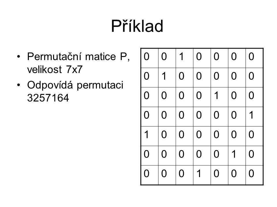 Příklad Permutační matice P, velikost 7x7 Odpovídá permutaci 3257164 0010000 0100000 0000100 0000001 1000000 0000010 0001000