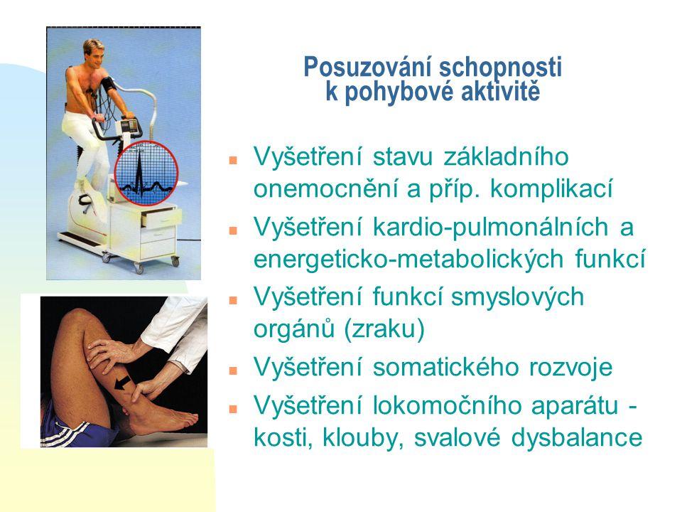 Posuzování schopnosti k pohybové aktivitě n Vyšetření stavu základního onemocnění a příp. komplikací n Vyšetření kardio-pulmonálních a energeticko-met