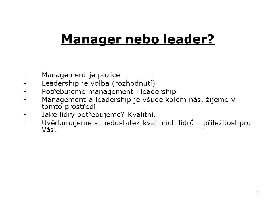 1 Manager nebo leader.