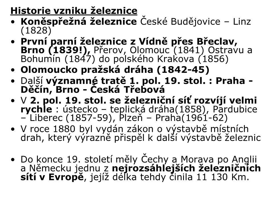 Historie vzniku železnice Koněspřežná železnice České Budějovice – Linz (1828) První parní železnice z Vídně přes Břeclav, Brno (1839!), Přerov, Olomouc (1841) Ostravu a Bohumín (1847) do polského Krakova (1856) Olomoucko pražská dráha (1842-45) Další významné tratě 1.