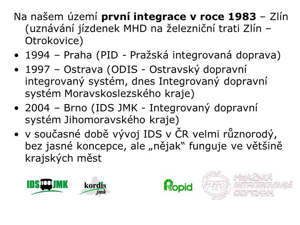 """Na našem území první integrace v roce 1983 – Zlín (uznávání jízdenek MHD na železniční trati Zlín – Otrokovice) 1994 – Praha (PID - Pražská integrovaná doprava) 1997 – Ostrava (ODIS - Ostravský dopravní integrovaný systém, dnes Integrovaný dopravní systém Moravskoslezského kraje) 2004 – Brno (IDS JMK - Integrovaný dopravní systém Jihomoravského kraje) v současné době vývoj IDS v ČR velmi různorodý, bez jasné koncepce, ale """"nějak funguje ve většině krajských měst"""