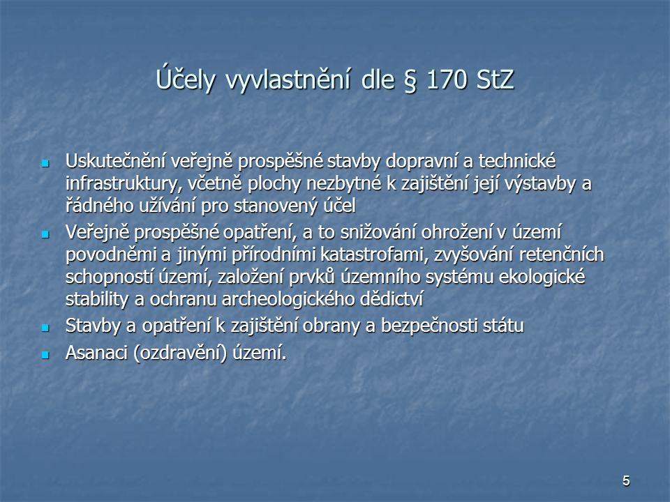 6 Podmínky vyvlastnění Stanovený účel a jeho prokázání ve vyvl666astňovacím řízení Stanovený účel a jeho prokázání ve vyvl666astňovacím řízení Veřejný zájem na realizaci účelu převažující nad zachováním dosavadních práv vyvlastňovaného Veřejný zájem na realizaci účelu převažující nad zachováním dosavadních práv vyvlastňovaného Soulad s cíli a úkoly územního plánování Soulad s cíli a úkoly územního plánování Za náhradu Za náhradu V nezbytném rozsahu V nezbytném rozsahu Co do intenzity zásahu do práva Co do intenzity zásahu do práva Co do výměry Co do výměry Na žádost lze rozšířit – pokud není-li možné pozemek, stavbu, jejich části či právo odp.věcnému břemenu užívat bez vyvlastňovaného pozemku, stavby, VB – vůbec, s nepřiměřenými obtížemi Na žádost lze rozšířit – pokud není-li možné pozemek, stavbu, jejich části či právo odp.věcnému břemenu užívat bez vyvlastňovaného pozemku, stavby, VB – vůbec, s nepřiměřenými obtížemi Priorita pokusu o dohodu - podmínky Priorita pokusu o dohodu - podmínky Dohoda musí obsahovat nárok vyvlastňovaného na vrácení převedených práv,pokud nebude zahájeno uskutečňování účelu převodu do 3 let od uzavření dohody Dohoda musí obsahovat nárok vyvlastňovaného na vrácení převedených práv,pokud nebude zahájeno uskutečňování účelu převodu do 3 let od uzavření dohody Vyvlastnění pozemku, stavby, která je ve spoluvlastnictví vyvlastňovaného a vyvlastnitele je možné je tehdy, pokud účelu vyvlastnění nelze dosáhnout zrušením spoluvlastnictví Vyvlastnění pozemku, stavby, která je ve spoluvlastnictví vyvlastňovaného a vyvlastnitele je možné je tehdy, pokud účelu vyvlastnění nelze dosáhnout zrušením spoluvlastnictví