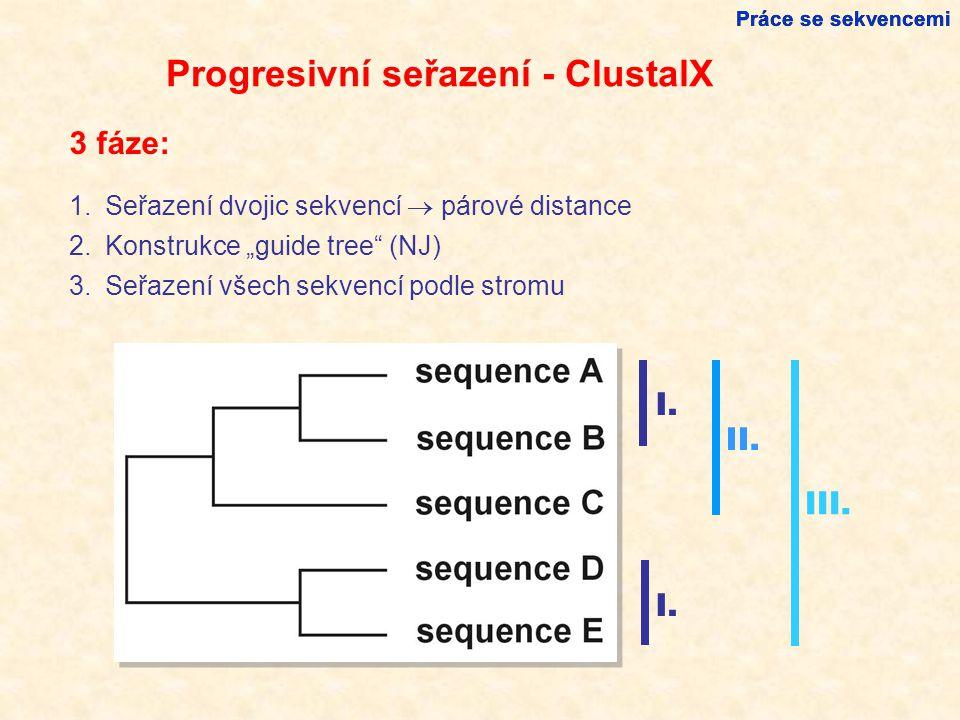 """Progresivní seřazení - ClustalX 1.Seřazení dvojic sekvencí  párové distance 2.Konstrukce """"guide tree (NJ) 3.Seřazení všech sekvencí podle stromu I."""