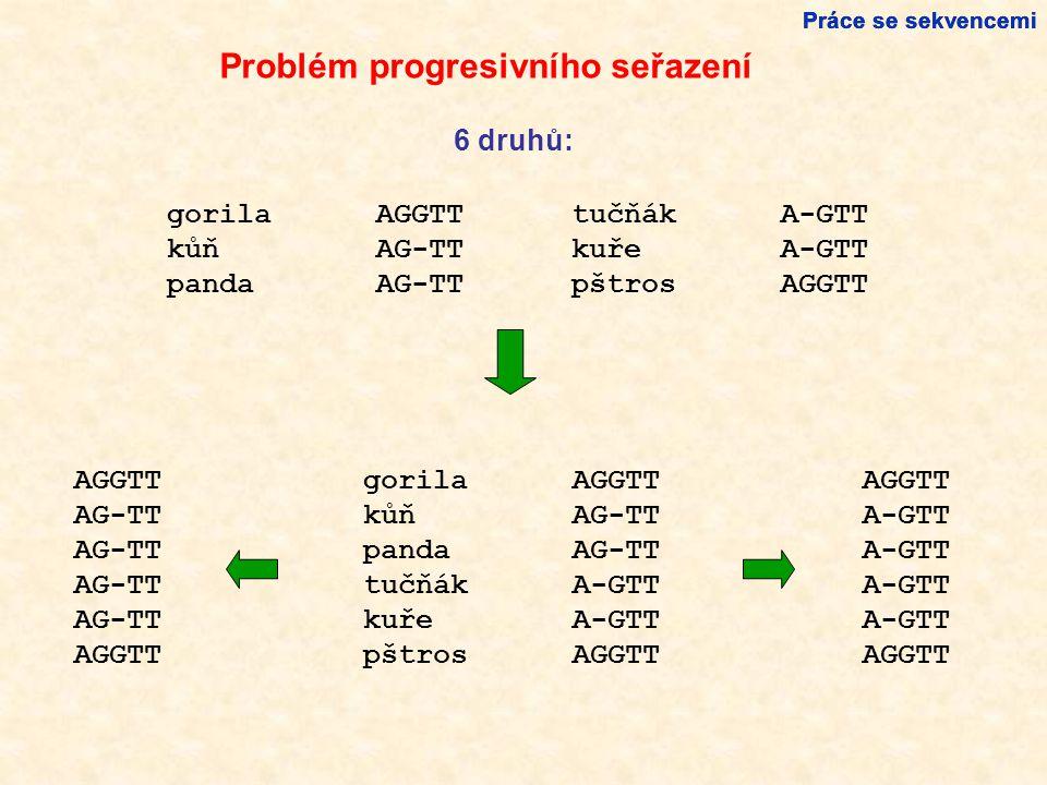 Problém progresivního seřazení gorilaAGGTT kůňAG-TT pandaAG-TT 6 druhů: tučňákA-GTT kuřeA-GTT pštrosAGGTT gorilaAGGTT kůňAG-TT pandaAG-TT tučňákA-GTT kuřeA-GTT pštrosAGGTT Práce se sekvencemi AGGTT AG-TT AGGTT A-GTT AGGTT