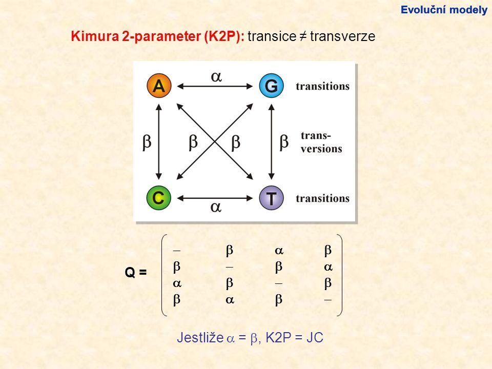 Kimura 2-parameter (K2P): transice ≠ transverze Evoluční modely                          Q = Jestliže  = , K2P = JC