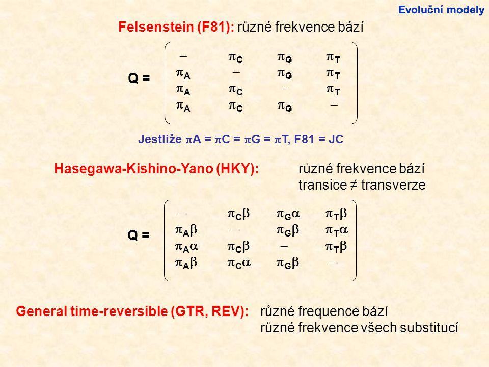 Evoluční modely   C   G   T   A    G   T   A   C    T   A   C   G   Q = Jestliže  A =  C =  G =  T, F81 = JC Felsenstein (F81): různé frekvence bází   C  G  T  A   G  T  A  C   T  A  C  G  Q = Hasegawa-Kishino-Yano (HKY): různé frekvence bází transice ≠ transverze General time-reversible (GTR, REV):různé frequence bází různé frekvence všech substitucí