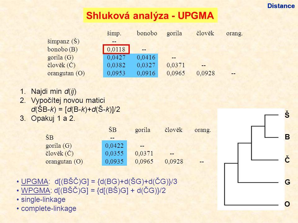 Shluková analýza - UPGMA Š B Č G O 1.Najdi min d(ij) 2.Vypočítej novou matici d(ŠB-k) = [d(B-k)+d(Š-k)]/2 3.Opakuj 1 a 2.