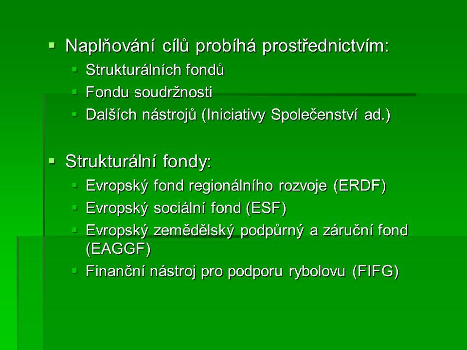  Naplňování cílů probíhá prostřednictvím:  Strukturálních fondů  Fondu soudržnosti  Dalších nástrojů (Iniciativy Společenství ad.)  Strukturální fondy:  Evropský fond regionálního rozvoje (ERDF)  Evropský sociální fond (ESF)  Evropský zemědělský podpůrný a záruční fond (EAGGF)  Finanční nástroj pro podporu rybolovu (FIFG)
