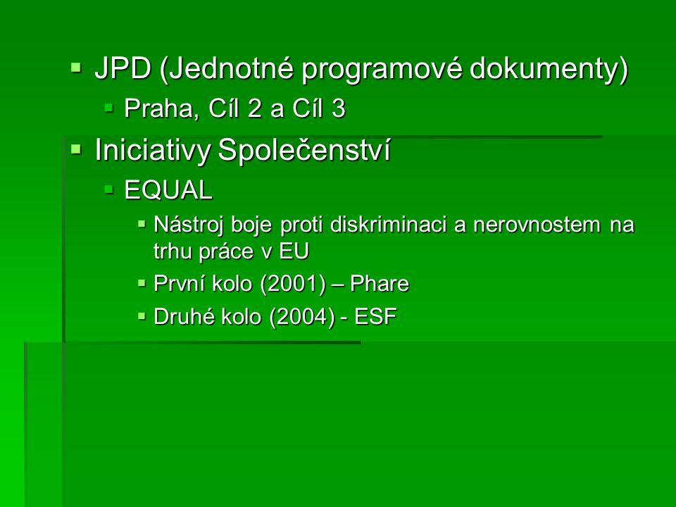  JPD (Jednotné programové dokumenty)  Praha, Cíl 2 a Cíl 3  Iniciativy Společenství  EQUAL  Nástroj boje proti diskriminaci a nerovnostem na trhu práce v EU  První kolo (2001) – Phare  Druhé kolo (2004) - ESF