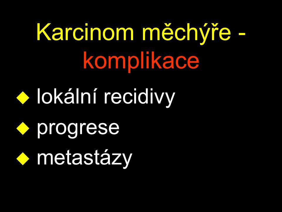 Karcinom měchýře - komplikace u lokální recidivy u progrese u metastázy