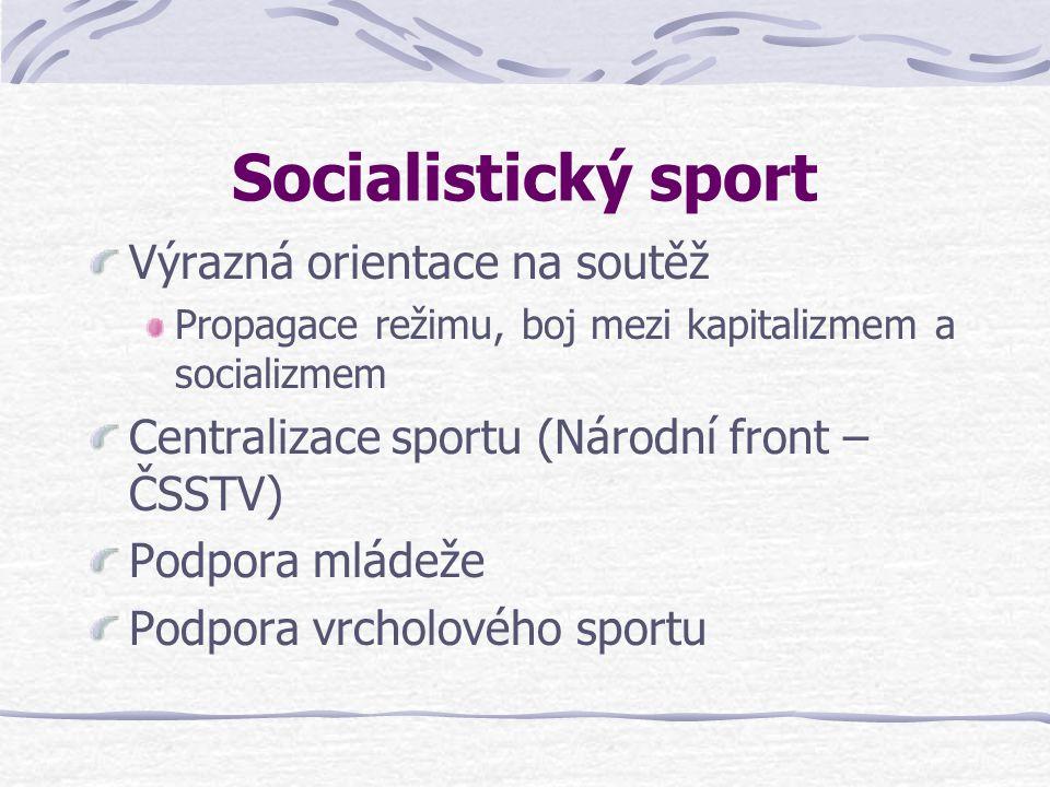 Socialistický sport Výrazná orientace na soutěž Propagace režimu, boj mezi kapitalizmem a socializmem Centralizace sportu (Národní front – ČSSTV) Podpora mládeže Podpora vrcholového sportu