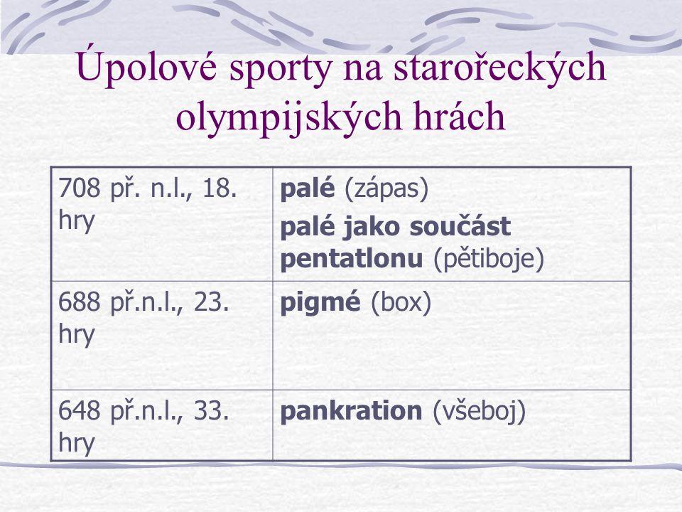 Úpolové sporty na starořeckých olympijských hrách 708 př.