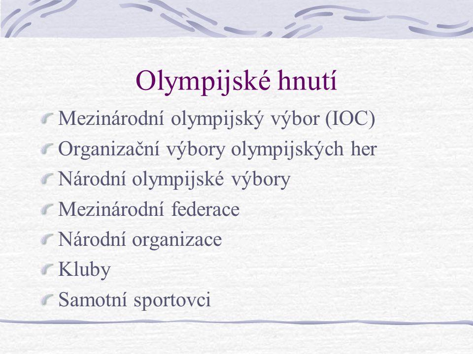 Olympijské hnutí Mezinárodní olympijský výbor (IOC) Organizační výbory olympijských her Národní olympijské výbory Mezinárodní federace Národní organizace Kluby Samotní sportovci