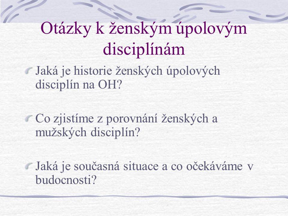 Otázky k ženským úpolovým disciplínám Jaká je historie ženských úpolových disciplín na OH.