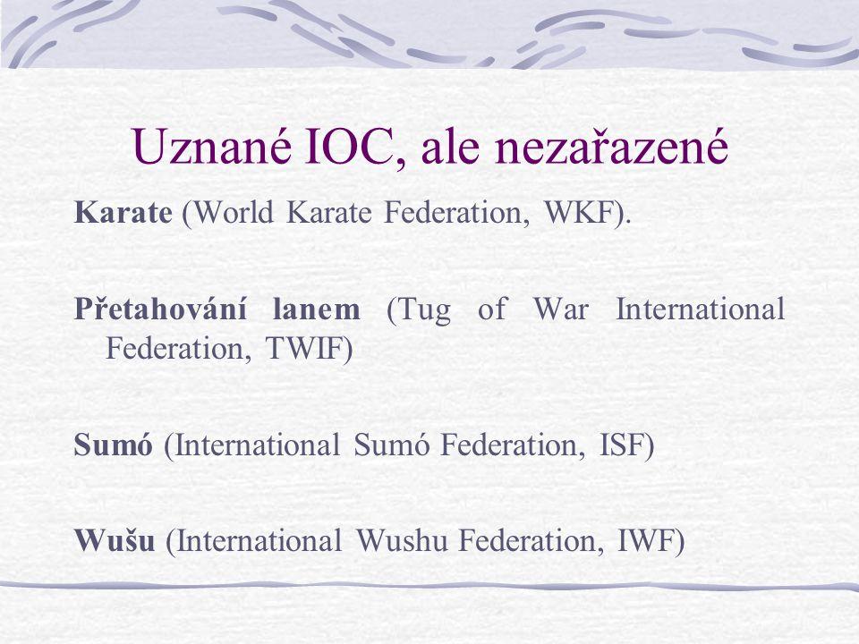 Uznané IOC, ale nezařazené Karate (World Karate Federation, WKF).