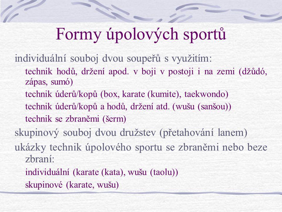 Formy úpolových sportů individuální souboj dvou soupeřů s využitím: technik hodů, držení apod.