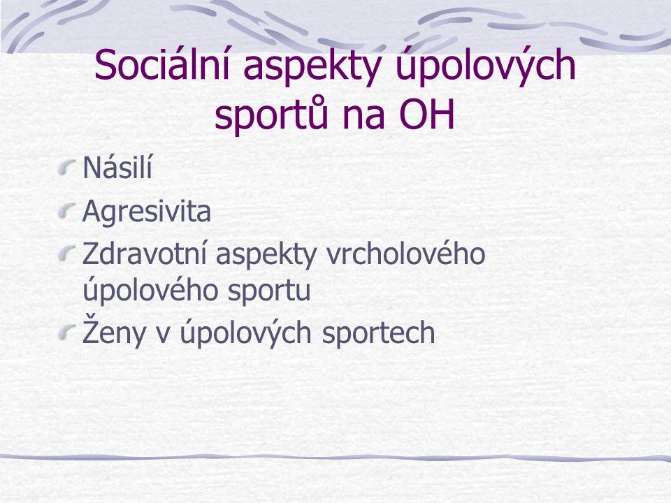 Sociální aspekty úpolových sportů na OH Násilí Agresivita Zdravotní aspekty vrcholového úpolového sportu Ženy v úpolových sportech