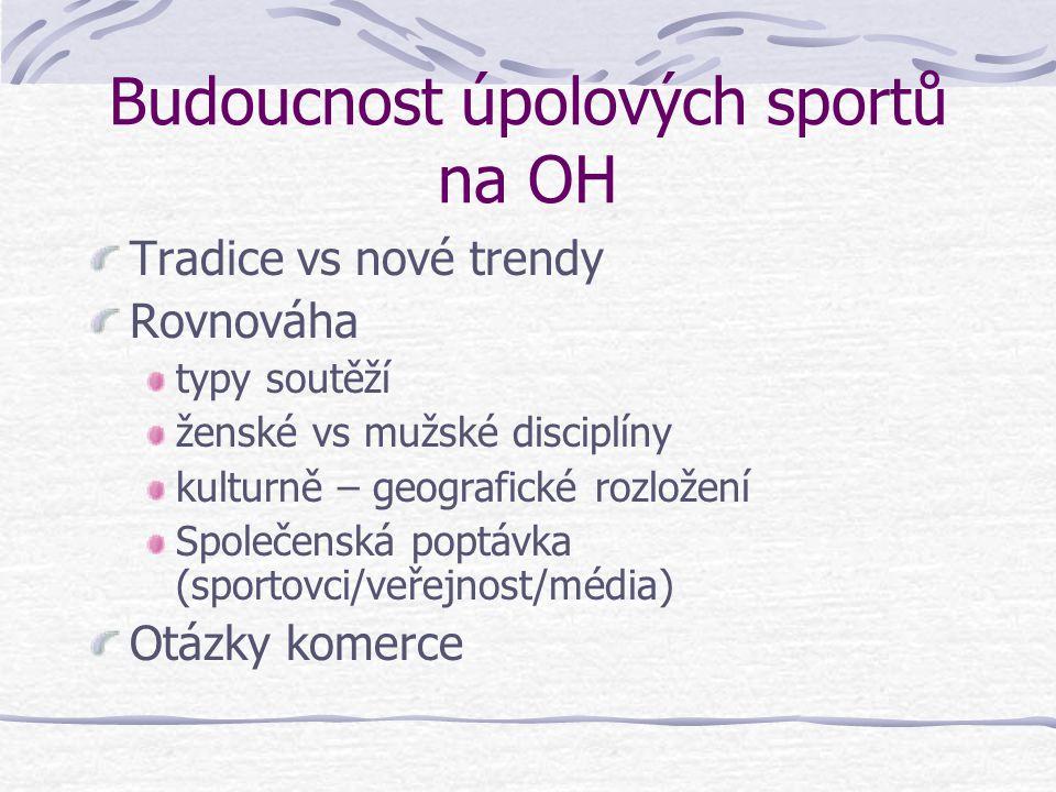 Budoucnost úpolových sportů na OH Tradice vs nové trendy Rovnováha typy soutěží ženské vs mužské disciplíny kulturně – geografické rozložení Společenská poptávka (sportovci/veřejnost/média) Otázky komerce