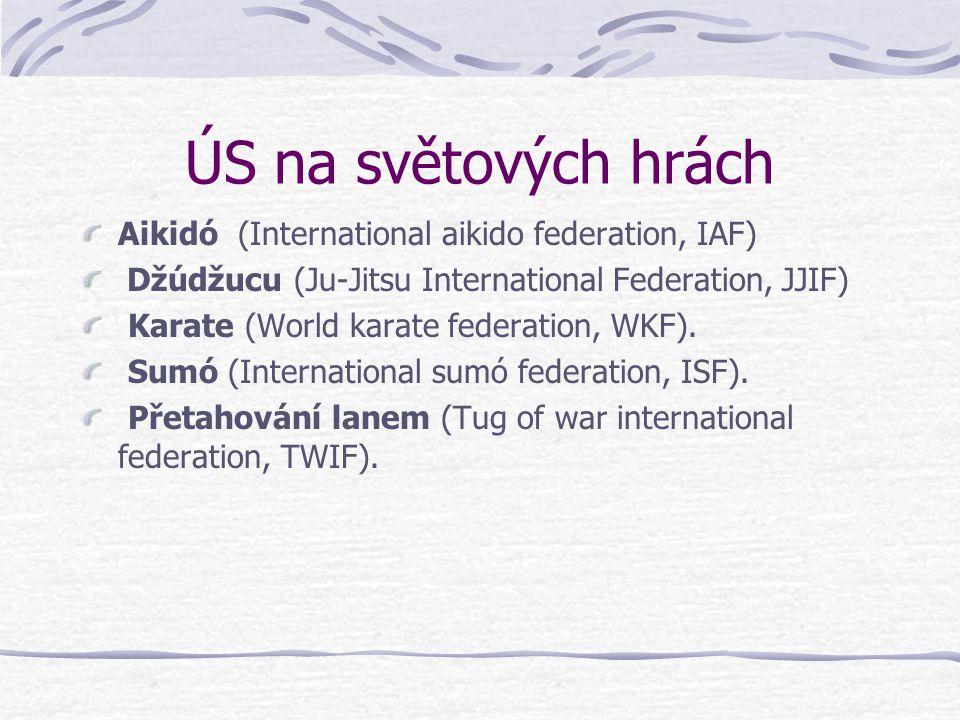 ÚS na světových hrách Aikidó (International aikido federation, IAF) Džúdžucu (Ju-Jitsu International Federation, JJIF) Karate (World karate federation, WKF).