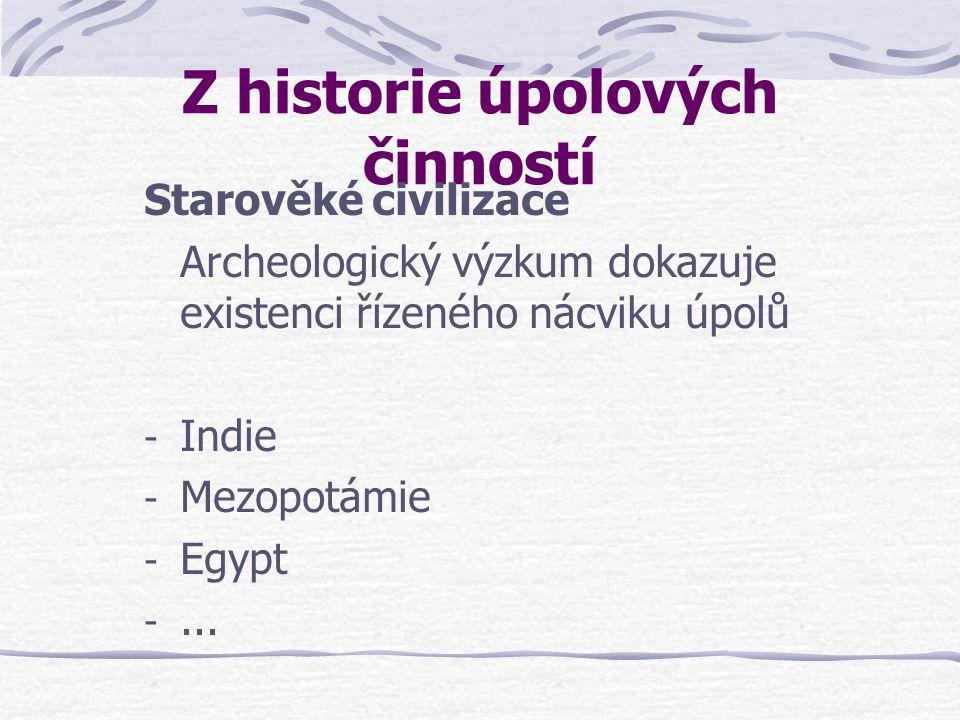 Z historie úpolových činností Starověké civilizace Archeologický výzkum dokazuje existenci řízeného nácviku úpolů - Indie - Mezopotámie - Egypt -...