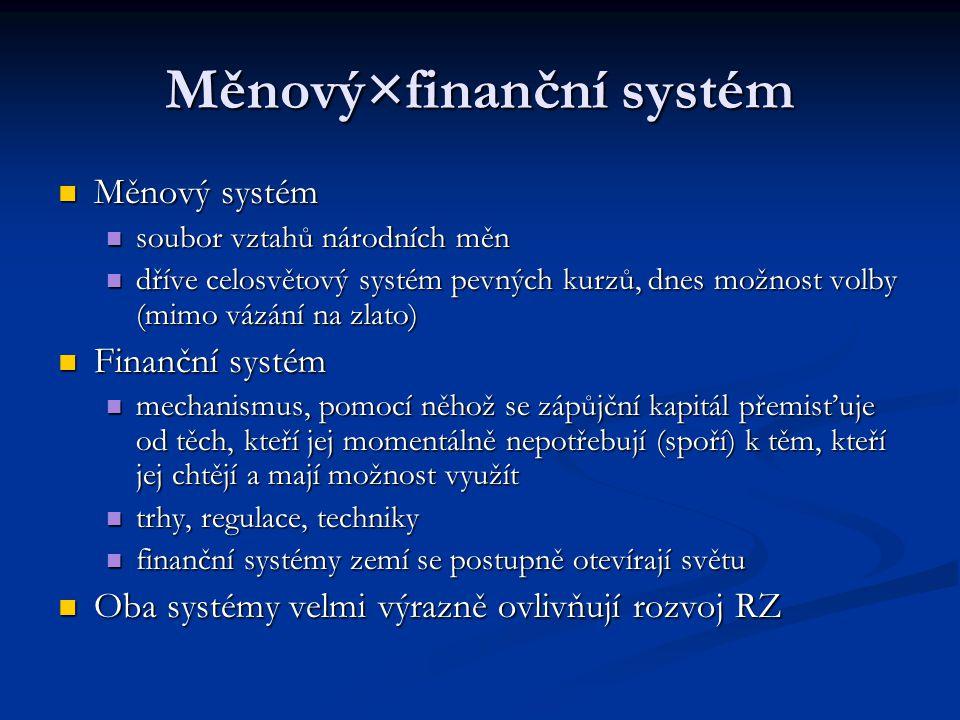 Měnový×finanční systém Měnový systém Měnový systém soubor vztahů národních měn soubor vztahů národních měn dříve celosvětový systém pevných kurzů, dne