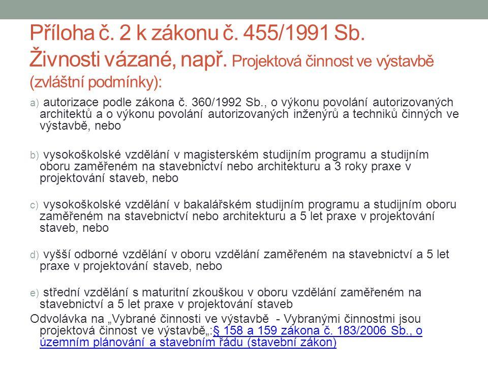 Příloha č. 2 k zákonu č. 455/1991 Sb. Živnosti vázané, např. Projektová činnost ve výstavbě (zvláštní podmínky): a) autorizace podle zákona č. 360/199