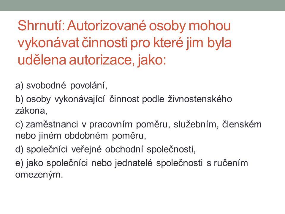Shrnutí: Autorizované osoby mohou vykonávat činnosti pro které jim byla udělena autorizace, jako: a) svobodné povolání, b) osoby vykonávající činnost