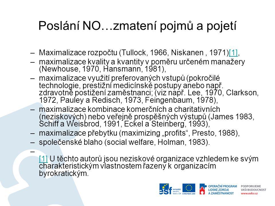 Poslání NO…zmatení pojmů a pojetí –Maximalizace rozpočtu (Tullock, 1966, Niskanen, 1971)[1],[1] –maximalizace kvality a kvantity v poměru určeném manažery (Newhouse, 1970, Hansmann, 1981), –maximalizace využití preferovaných vstupů (pokročilé technologie, prestižní medicínské postupy anebo např.