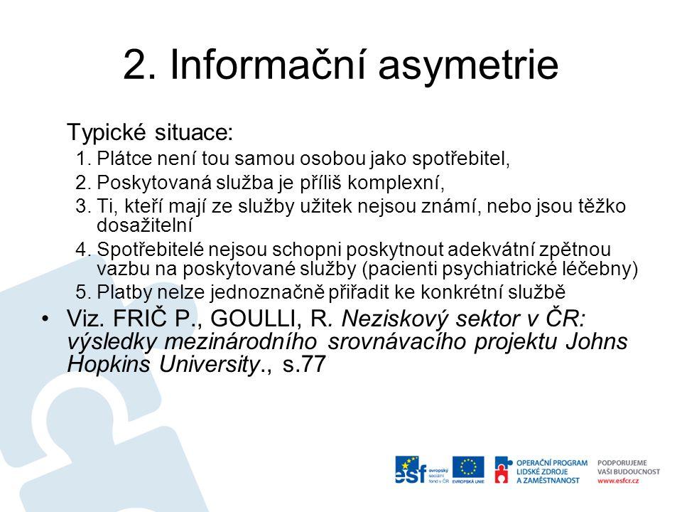 2. Informační asymetrie Typické situace: 1.Plátce není tou samou osobou jako spotřebitel, 2.Poskytovaná služba je příliš komplexní, 3.Ti, kteří mají z