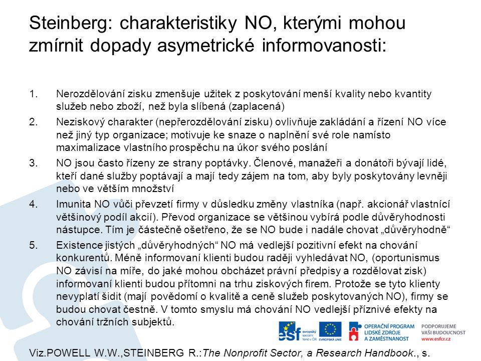 Steinberg: charakteristiky NO, kterými mohou zmírnit dopady asymetrické informovanosti: 1.Nerozdělování zisku zmenšuje užitek z poskytování menší kvality nebo kvantity služeb nebo zboží, než byla slíbená (zaplacená) 2.Neziskový charakter (nepřerozdělování zisku) ovlivňuje zakládání a řízení NO více než jiný typ organizace; motivuje ke snaze o naplnění své role namísto maximalizace vlastního prospěchu na úkor svého poslání 3.NO jsou často řízeny ze strany poptávky.