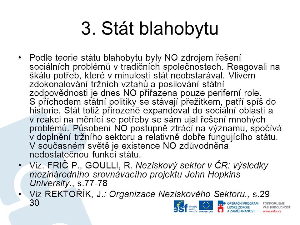 3. Stát blahobytu Podle teorie státu blahobytu byly NO zdrojem řešení sociálních problémů v tradičních společnostech. Reagovali na škálu potřeb, které