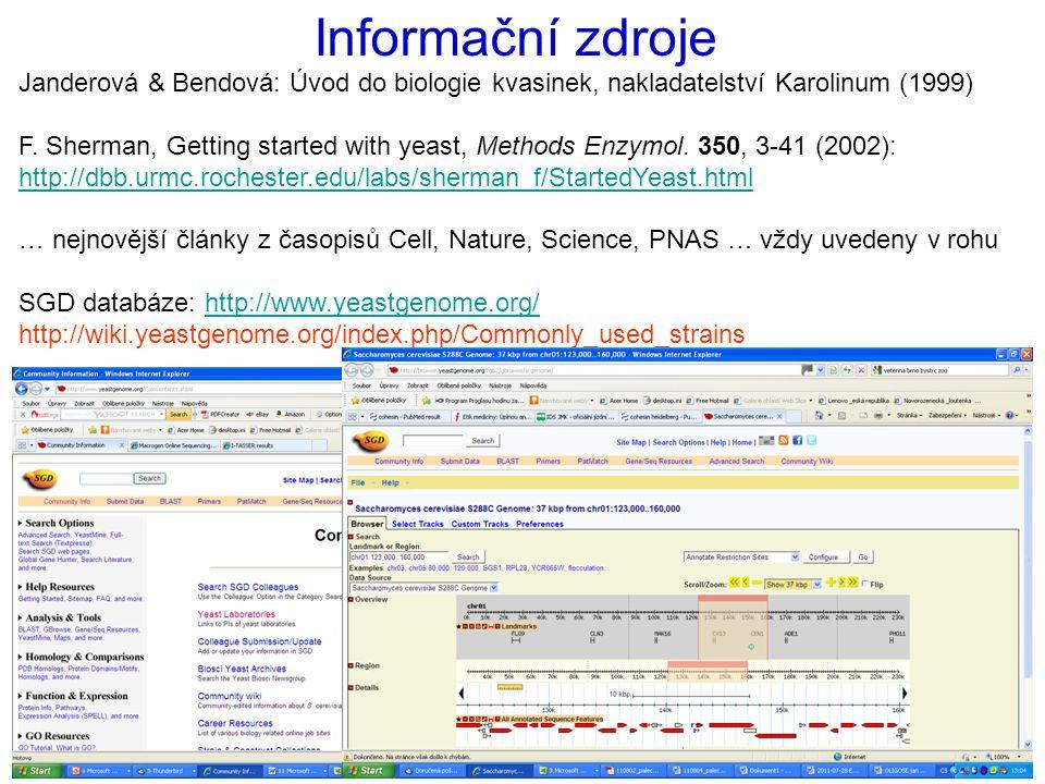 Informační zdroje Janderová & Bendová: Úvod do biologie kvasinek, nakladatelství Karolinum (1999) F. Sherman, Getting started with yeast, Methods Enzy