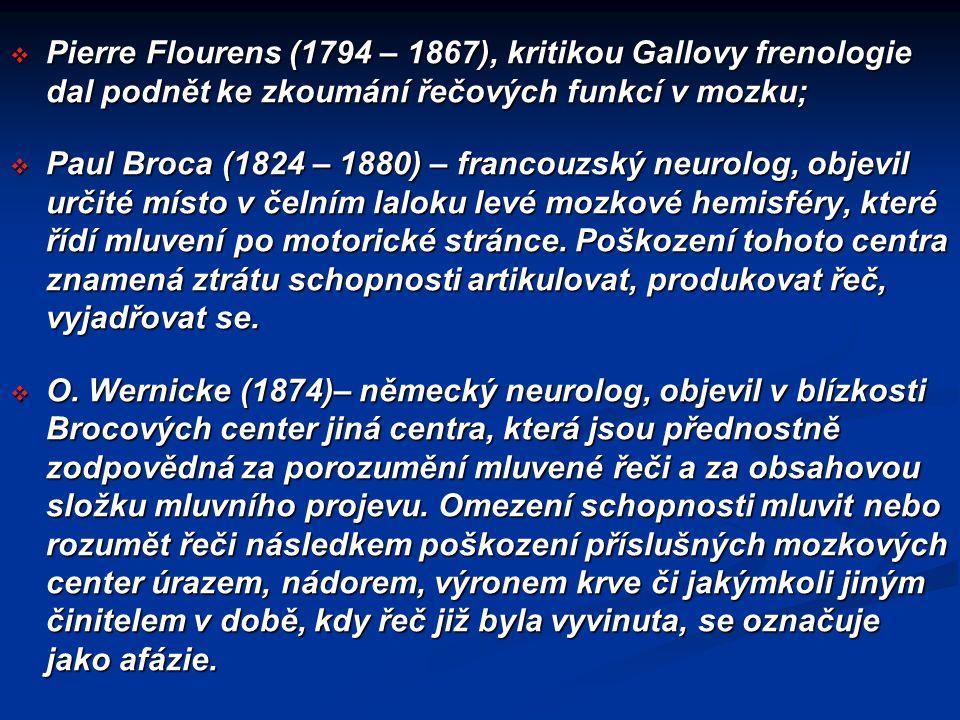  Pierre Flourens (1794 – 1867), kritikou Gallovy frenologie dal podnět ke zkoumání řečových funkcí v mozku;  Paul Broca (1824 – 1880) – francouzský