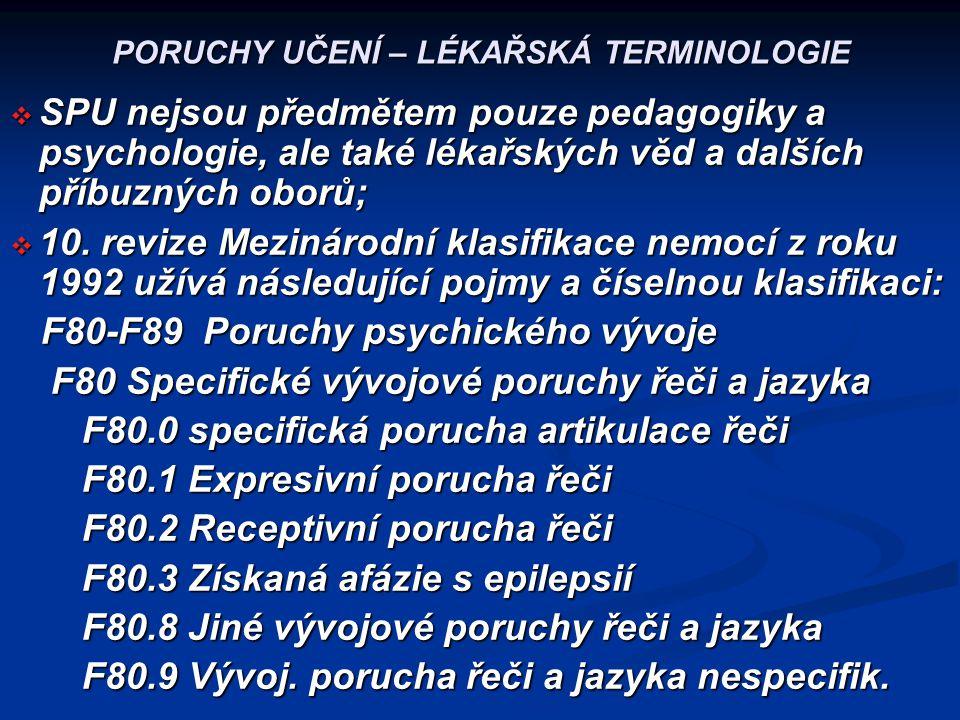 PORUCHY UČENÍ – LÉKAŘSKÁ TERMINOLOGIE  SPU nejsou předmětem pouze pedagogiky a psychologie, ale také lékařských věd a dalších příbuzných oborů;  10.