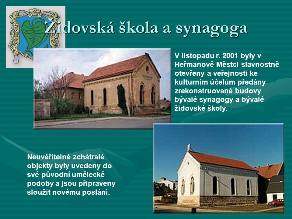 Židovská škola a synagoga V listopadu r.