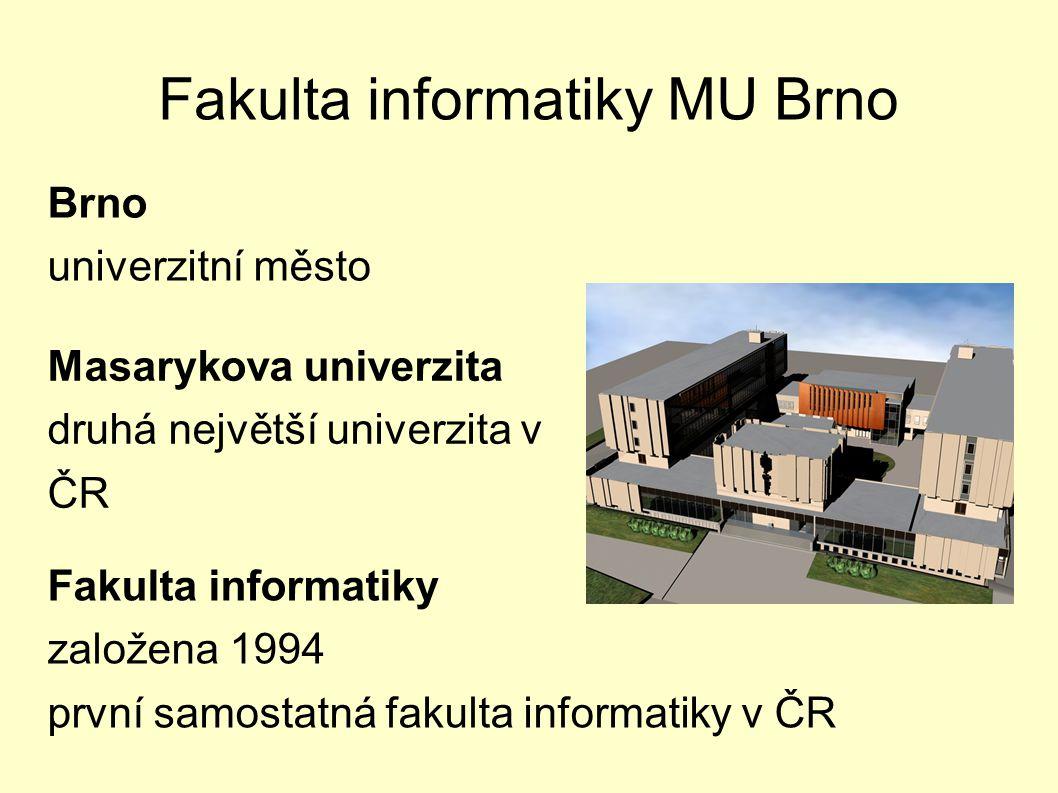 Fakulta informatiky MU Brno Masarykova univerzita druhá největší univerzita v ČR Fakulta informatiky založena 1994 první samostatná fakulta informatik