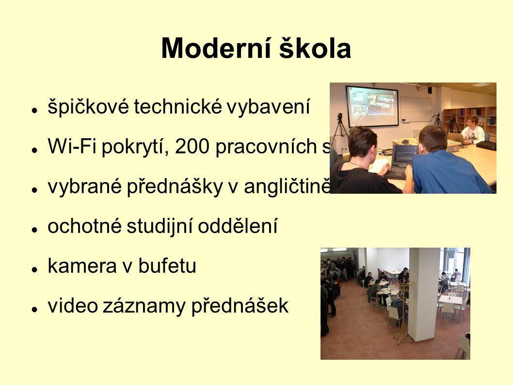Moderní škola špičkové technické vybavení Wi-Fi pokrytí, 200 pracovních stanic vybrané přednášky v angličtině ochotné studijní oddělení kamera v bufet