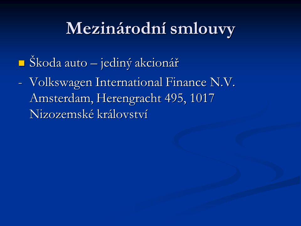 Mezinárodní smlouvy Škoda auto – jediný akcionář Škoda auto – jediný akcionář - Volkswagen International Finance N.V. Amsterdam, Herengracht 495, 1017