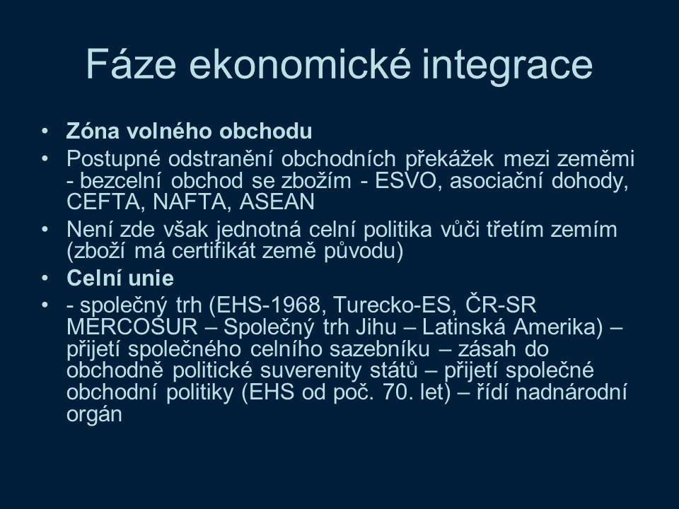 Fáze ekonomické integrace Zóna volného obchodu Postupné odstranění obchodních překážek mezi zeměmi - bezcelní obchod se zbožím - ESVO, asociační dohod
