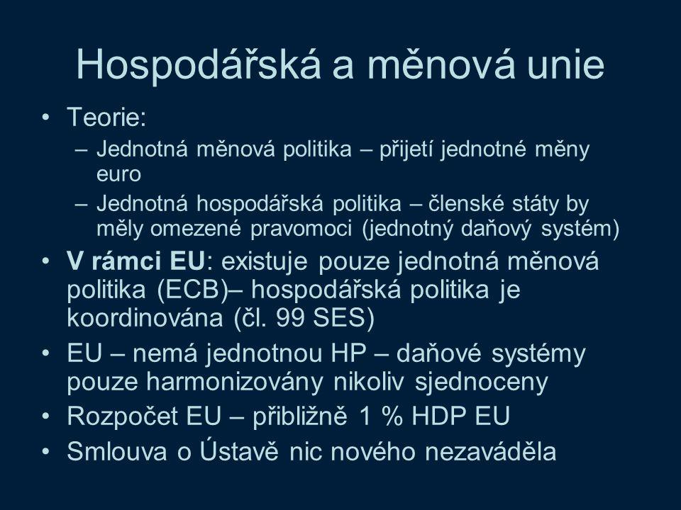 Hospodářská a měnová unie Teorie: –Jednotná měnová politika – přijetí jednotné měny euro –Jednotná hospodářská politika – členské státy by měly omezen