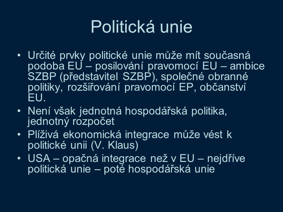 Politická unie Určité prvky politické unie může mít současná podoba EU – posilování pravomocí EU – ambice SZBP (představitel SZBP), společné obranné p