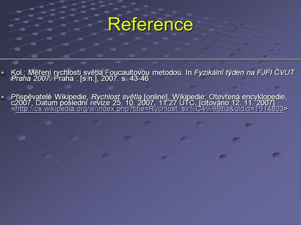 Reference Kol.: Měření rychlosti světla Foucaultovou metodou. In Fyzikální týden na FJFI ČVUT Praha 2007. Praha : [s.n.], 2007. s. 43-46 Přispěvatelé