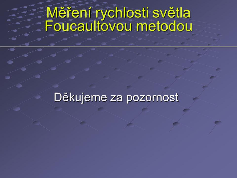 Měření rychlosti světla Foucaultovou metodou Děkujeme za pozornost