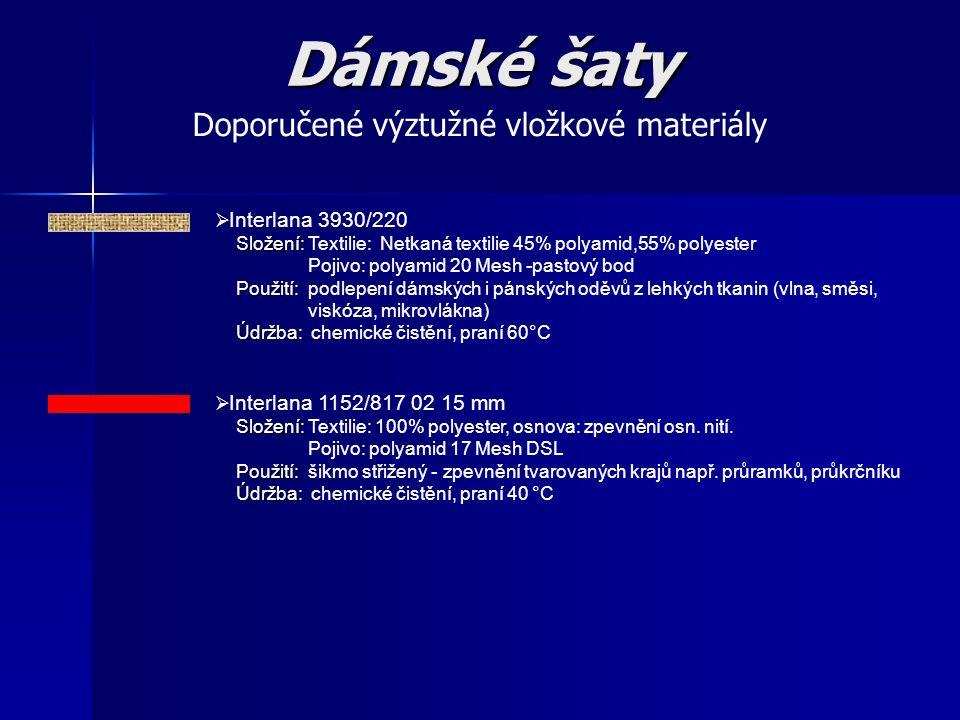  Interlana 3930/220 Složení: Složení: Textilie: Netkaná textilie 45% polyamid,55% polyester Pojivo: polyamid 20 Mesh -pastový bod Použití: Použití: p